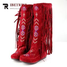 RIBETRINI The Chinese Stylish Women Tassel Boots Fringed Flat Heels Spring Autumn Boots Fashion Knee High Long Boots 3 colors #women, #men, #hats, #watches, #belts, #fashion, #style
