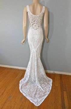 Off White Hippie Crochet LACE Wedding Dress by MuseClothing
