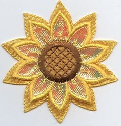 Iron On Applique Embroidered Patch Yellow Layered Shimmery Sunflower Flower