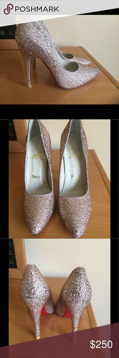 """Christian Louboutin rhinestone pink pumps 4,5""""heel Like new condition , been worn twice , few rhinestones is missing , but that's not noticeable when wearing them . Fits size 8 . They're very good quality , price reflects authenticity . ❌Price firm . Christian Louboutin Shoes Heels"""