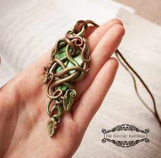 $45 USD: Leaves of Lorien: #elven polymer clay #fantasy necklace by TheFantasyEmporium #jewelry