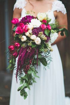 Wedding Flowers I love amaranthus, it looks so beautiful in a cascading bouquet - This year saw the rise of the unstructured bouquet, with local, seasonal blooms the order of the day. These are our top wedding bouquets of Magenta Wedding, Floral Wedding, Wedding Colors, Berry Wedding, Spring Wedding, Bridal Flowers, Flower Bouquet Wedding, Flower Bouquets, Cascading Flowers