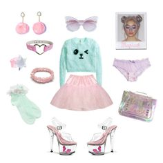 """Candy. Please."" by robinnnnnnn ❤ liked on Polyvore featuring Pleaser, H&M, ASOS, Linda Farrow, BabyGirl, pastel, candy and Crybaby"
