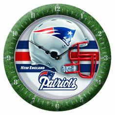 """NFL New England Patriots Game Time Clock by WinCraft. Save 37 Off!. $12.55. Plastic lens protects the hands. Soft rounded clock is perfect every room. 10 3/4 Round Wall Clock. Uniquely Crafted with Full Imprinted Border. Center graphic inset 5/8"""" for great depth. Officially licensed wall clock. This unique clock is multilevel with the outside frame printed sport specific with the dial numbers, and the inside sharp graphics inset 5/8"""" for a great dimension.   The clock is finishe..."""