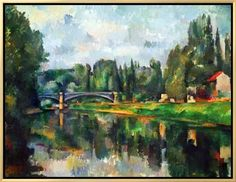 Framed Canvas Print: Framed Bridge Over Ther Marne at Creteil Art by Paul Cézanne : 23x30in