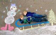 Sledding, snowman, snowy, Christmas Card photo ideas, chalk on driveway. Family Christmas photo