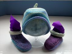 Vegan baby hat booties fun set aqua purple small first size by SpinningStreak on Etsy