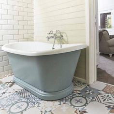 Another great bathroom at The Fish Hotel in the Cotswolds. This BC Designs bath was painted to complement the floor tiles Family Bathroom, Modern Bathroom, Master Bathroom, Bathroom Ideas, Bathroom Inspiration, Bathroom Plans, Bathroom Inspo, Bath Ideas, Wall Mounted Taps