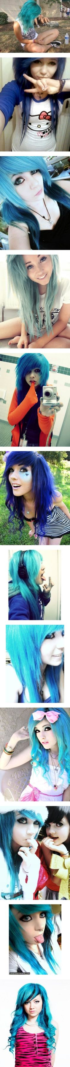 """˚ ˛ ˚ ˛ • ℬlue ℬoo ˚ ˛ ˚ ˛ •"" by bmth-em0freakx on Polyvore i love all these hair styles"