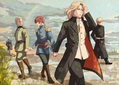 Hetalia<<lets take a moment in this saddening picture to notice the rainbow between Germany and Italy, then remember how close they were in WWII. Latin Hetalia, Hetaoni, Hetalia Fanart, Hetalia Axis Powers, Another Anime, World War One, Memes, Fandoms, Fan Art