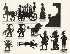 Le chat botté conte planche d`ombres théâtre d`ombres ombres chinoises silhouettes marionnettes