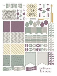PRINTABLE Erin Condren Planner Arrows by PricklyPearDesignCo