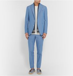 A powder-blue suit feels at once nostalgic, yet also fresh and modern. This Boglioli two-piece is neatly tailored from soft cotton and cut in a slim, sharp profile. Nod to Mr Jared Leto who wore a similar style to the Oscars accompanied by a white shirt and crisp boutonnière, or Mr Jamie Hince who styled his with aviators and Chelsea boots for a rock 'n' roll edge.