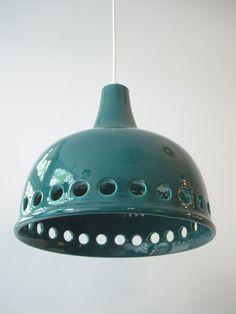 Blue green ceramic hanging lamp. Is it West Germany?