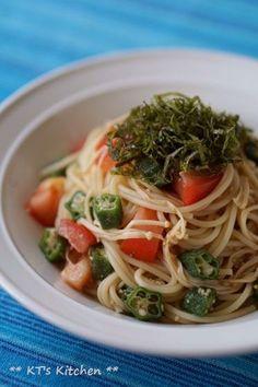 オクラとトマト、えのきの冷製パスタ - KT's Kitchen&Garden