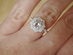 Halo Morganite Diamond Ring Gemstone Engagement by PenelliBelle