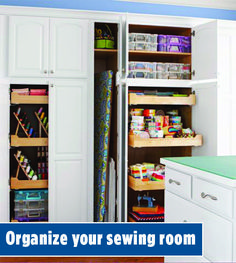 Peek into stylish and functional sewing rooms and work spaces! Steal storage ideas for your own room or be inspired to carve out room in your home for an organized sewing space. Sewing Spaces, Sewing Rooms, Storage Organization, Storage Ideas, All People Quilt, Work Spaces, Home Theater, Bookcase, Quilting