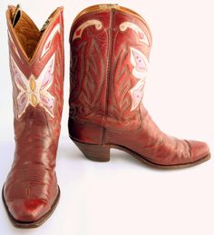Vintage cowboy boots are maroon Justin's with front side pink, white, lavender, red and yellow inlaid butterfly. These wild colors scream custom made! $525 luckystargallery.com
