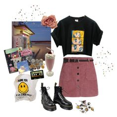 """10pm"" by thecatswhiskers ❤ liked on Polyvore featuring Dr. Martens and Michele"