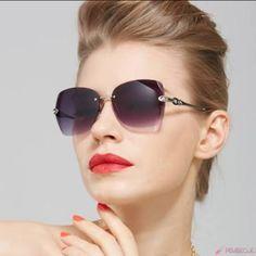 f25c613688b Luxury Elegant Women Rimless Sunlgasses 2016 New Fashion Retro Lady Crystal  Eyewear Chain Sun Glasses