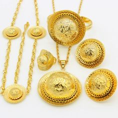 Dynamic Shamty Ethiopian Bridal Jewelry Sets Women Trendy Pure Gold Color Set African Nigeria Sudan Eritrea Kenya 3 Different Size Bridal Jewelry Sets