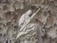 La Sagrada Familia in Barcelona (Catalonia), Spain. Bassoon Angel carved wood, playing for the nativity scene.