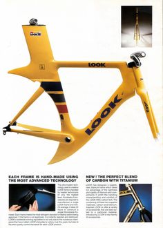 A Look TT frame advert: An amazing frame. The crescent moon wheel arch is just gorgeous. Velo Design, Bicycle Design, Cycling Art, Cycling Bikes, Bmx, Power Bike, Push Bikes, Fixed Gear Bike, Road Bike Women