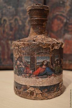 Купить Бутылка для святой воды - коричневый, бутылка, святая, вода, крест, Пасха, крещение