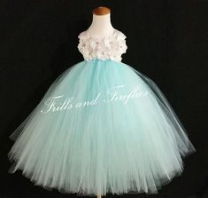 White Flower Girl Dress with Light Blue Skirt-Classic Flowergirl Dress..OTHER COLORS AVAILABLE, Size 1t, 2t, 3t, 4t, 5t, 6, 7, 8 by FrillsandFireflies
