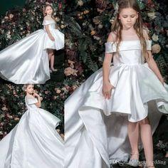 6703478f3e White Stain Flower Girl Dresses High Low Off Shoulder Sheer Jewel Neck  Elegant Toddler Prom Dress Party Gown Zuhair Murad Dress Sweep Train