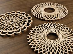 Hardwood Graphic Coasters The Spiral Series by FivePlyDesign