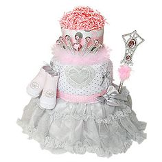 Silver and Pink Princess diaper cake!