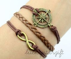 Antique bronze compass bracelet, infinity wish bracelet-brown wax cords brown braided leather bracelet-cute personalized charm jewelry-Q320