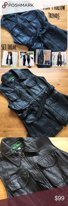 """Vintage Black Leather Vest w/ Tie Front Waist Beautiful.Genuine Vintage US made leather. Softer than skin quality, this vest has endless styling potential. This piece takes someone who isn't afraid to set trends by standing out in something so effortlessly casual yet uniquely cool. Wear open or closed. Brass hardwear. Fits a bit like a small/medium for someone who typically wears a size 2 and 27"""" jeans. Extra room may be desired for larger chests or multiple layers depending on your climate…"""