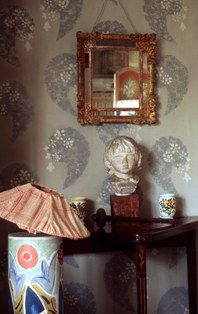 Bloomsbury Group artists' creations at Carleston Farm. Hand painted walls and hand created lamp.