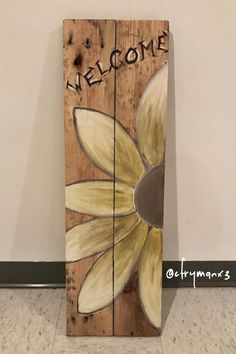 Painted spring/summer/fall welcome sign made from reclaimed pallet wood, 2017