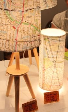 Map lamps, cool idea, world wide DIY lighting project Map Crafts, Diy And Crafts, Diy Projects To Try, Craft Projects, Luminaria Diy, Diy Luminaire, Map Globe, Diy Décoration, Deco Design