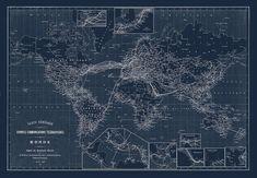 WORLD MAP, Map of the World, World BLUEPRINT Map, World Telegraph Map 1898