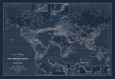 WORLD MAP, Map of the World, World BLUEPRINT Map, World Telegraph Map 1898    This great map details the distances and the routes of the world,