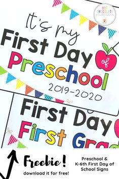Freebie - First Day Of School Signs - Get ready for your kids first day of school with this free printable sign set for the sch - Preschool First Day, First Day Of School Activities, Kindergarten First Day, 1st Day Of School, Free Preschool, Beginning Of The School Year, Preschool Kindergarten, Preschool Poems, Starting Kindergarten