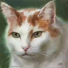 "Daily Paintworks - ""Pleasantly Plump Pussycat"" - Original Fine Art for Sale - © J. Dunster"