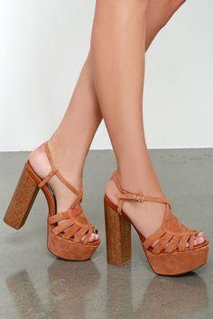 Chestnut Brown Suede Leather Platform Heels