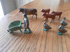 Vintage 9 Cast Iron 1940s Farm Man and Wheelbarrel by ShatomaArt, $25.00