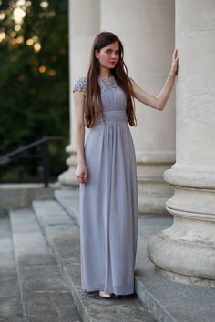 długa szara sukienka wesele studniówka