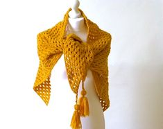 Crochet triangle shawl, mustard shawl, chunky wool wrap £35.00 Chunky Crochet Scarf, Chunky Wool, Crochet Shawl, Hand Crochet, Crochet Triangle, Acrylic Wool, Beautiful Gifts, Crochet Designs, Neck Warmer