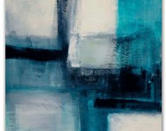 """Art, Titled 'Modern Turquoise', Large abstract block painting, teal, turquoise, gray, black, glowing creme, sea green, 36"""" x 36"""""""