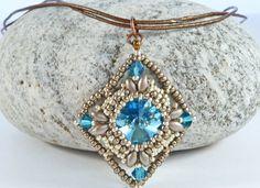 Aqua Diamond Pendant Swarovski Rivoli by BeauBellaJewellery #Swarovski #rivoli #aqua #beadwork