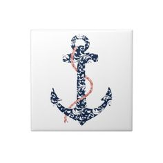 Navy and Coral Anchor Beach Wedding Ceramic Tiles