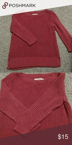 Ann Taylor loft fall sweater Beautiful burnt coral color perfect for fall Ann Taylor Sweaters Crew & Scoop Necks