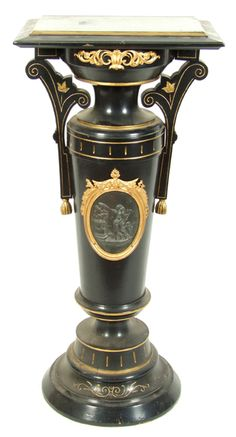 AESTHETIC MOVEMENT SCULPTURE PEDESTAL (Circa 1880's) Ebonized with incised gilt decoration. Rectangular top with stepped molded rim, ormolu scroll mounted frieze, turned urn shape standard with arched handles, centered with an embossed oval neo-classical plaque enclosed in an ormolu frame, stepped base Victorian Furniture, Antique Furniture, Home Decor Accessories, Decorative Accessories, Aesthetic Movement, Gothic House, Renaissance, Sculpture, Antiques